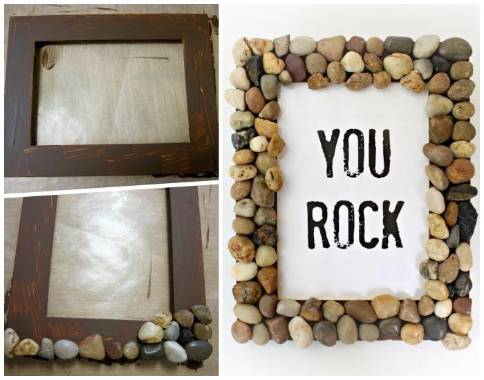 hölzerner bilderrahmen mit steinen dekorieren, was kann ich meinem freund schenken, you rock
