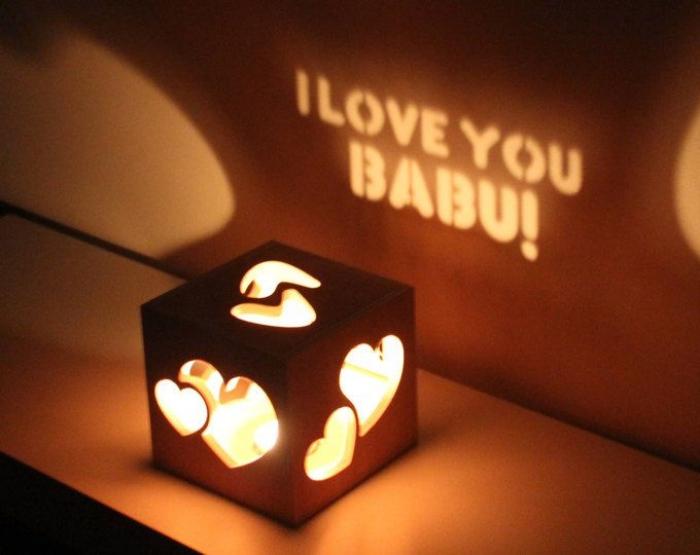 was schenke ich meinem freund, teelichthalter mit herzen und schriftzug, ich liebe dich