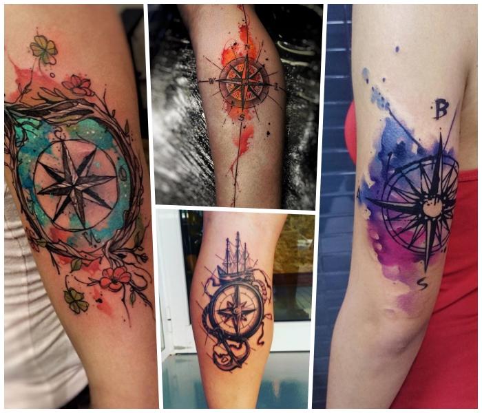 wasserfarben tattoo kompass, anker und schiff, kleine blüten, maritime motive