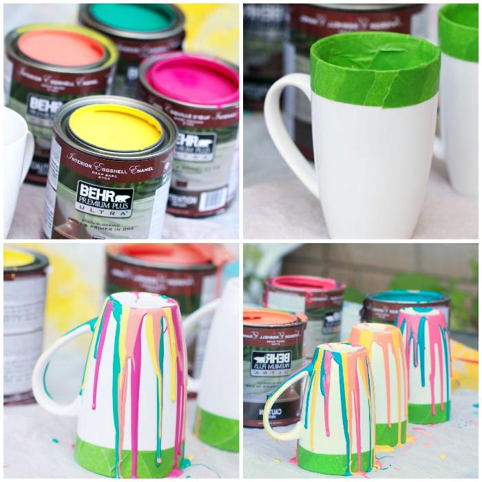 grünes klebeband, tasse bemalen mit kindern vorlagen, bunte farben, geschirr dekorieren