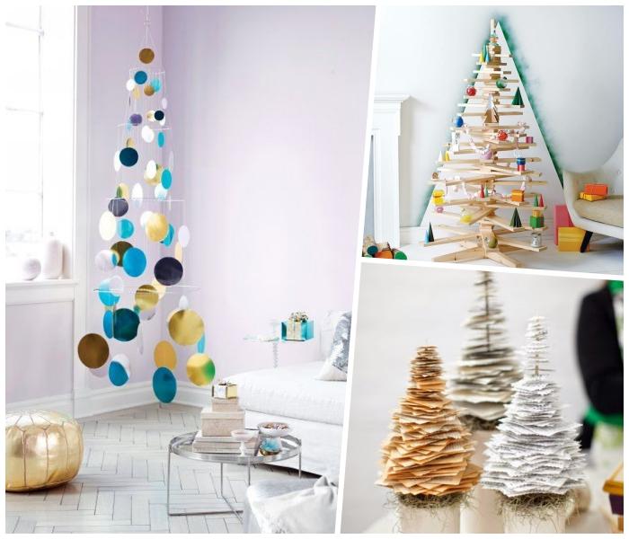 tannenbaum aus holz, weihnachtsbaum basteln aus großen kreisen, stücke stoff