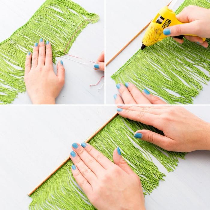 weihnachtsbaum basteln, gelbe heißklebepistole, blauer nagellack, grüne fransen