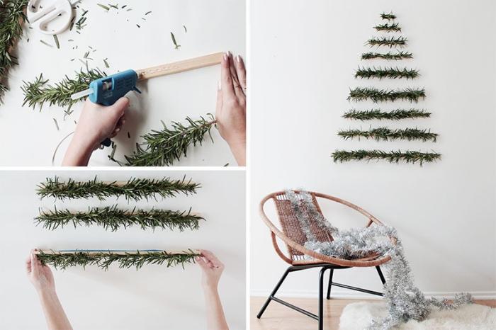 weihnachtsbeum basteln, geflochtener stuhl, girlande an holzplatten kleben, wanddeko ideen