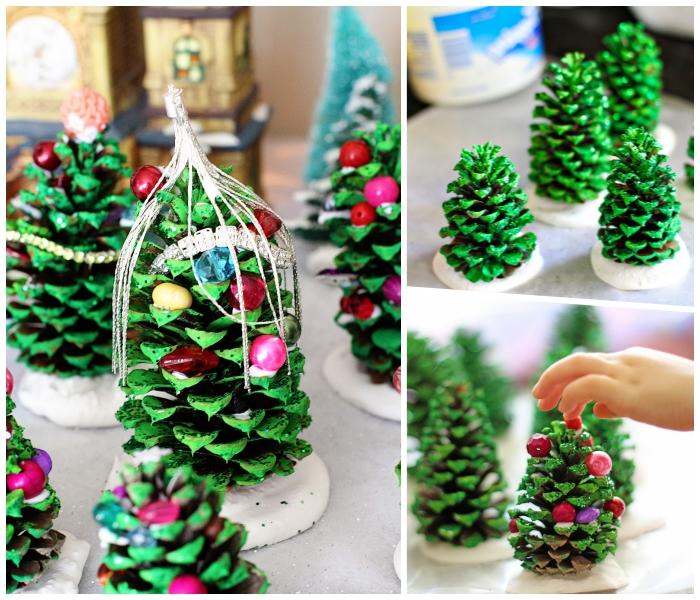 weihnachtsbaum selber basteln aus tannenzapfen, bunte holzperlen, grüne farbe