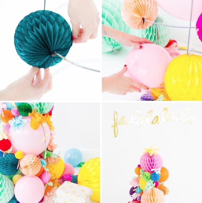tannenbaum basteln ideen, bunte wabenbälle, rosa luftballon, diy tutorial