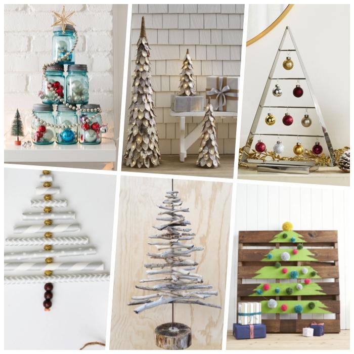 blaue einmachgläser, baum aus ästen, weihnachtsbaum selber basteln ideen