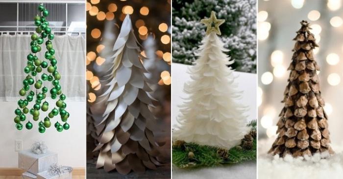 grüne weihnaahtskugeln, weiße federn, weihnachtsbaum selber basteln, deko ideen