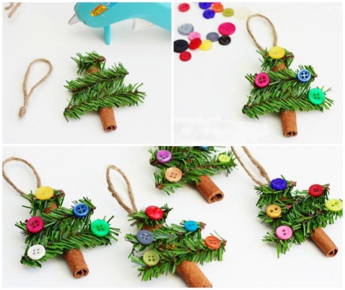 christbaumschmuck selber machen, bunte knöpfe weihnachtsbaum selber basteln