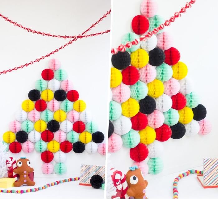 wanddeko ideen, bunte wabenbälle, weihnachtsdeko basteln, girlanden aus bonbons
