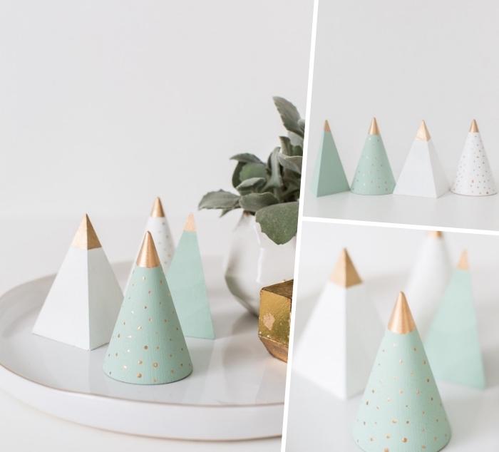 weihnachtsdeko basteln, mini tannenbäume aus holz dekoriert mit farbe