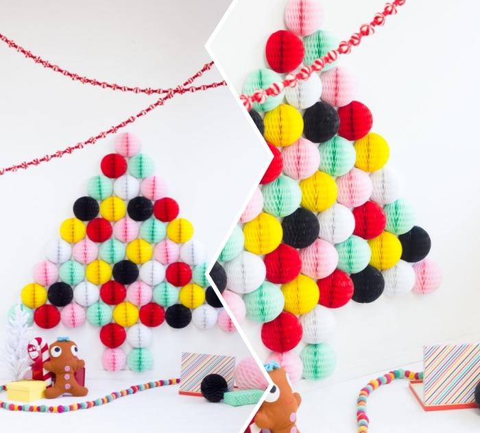 bunte bälle aus seidenpappier, diy bastelideen zu weihnachten, weihnachtsdeko basteln