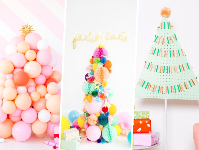 weihnachtsdeko basteln, selbstgemachte tannenbäume, viele luftballons, bunte wabenbälle