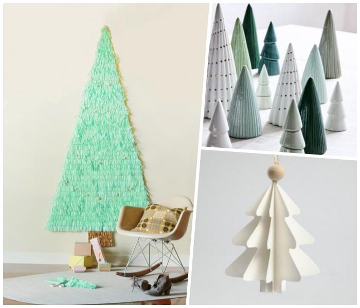 keramische tannenbäume, mintfarbene seidenpapier, weihnachtsdeko basteln, collage
