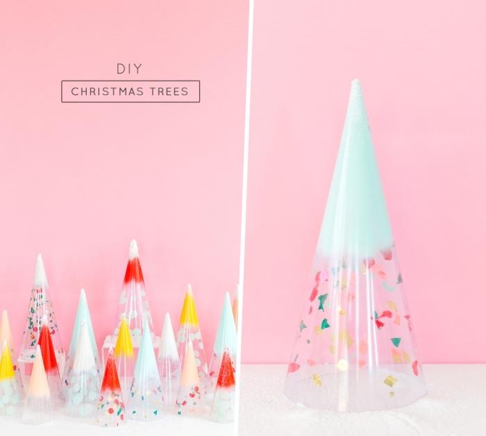 weihnachtsdeko selber machen, rosa wand, kegel aus transparentes papier dekoriert mit konfetti