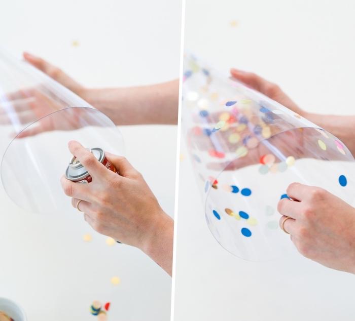 weihnachtsdeko selber machen, bunte konfetti, kegel aus transparentem papier, diy