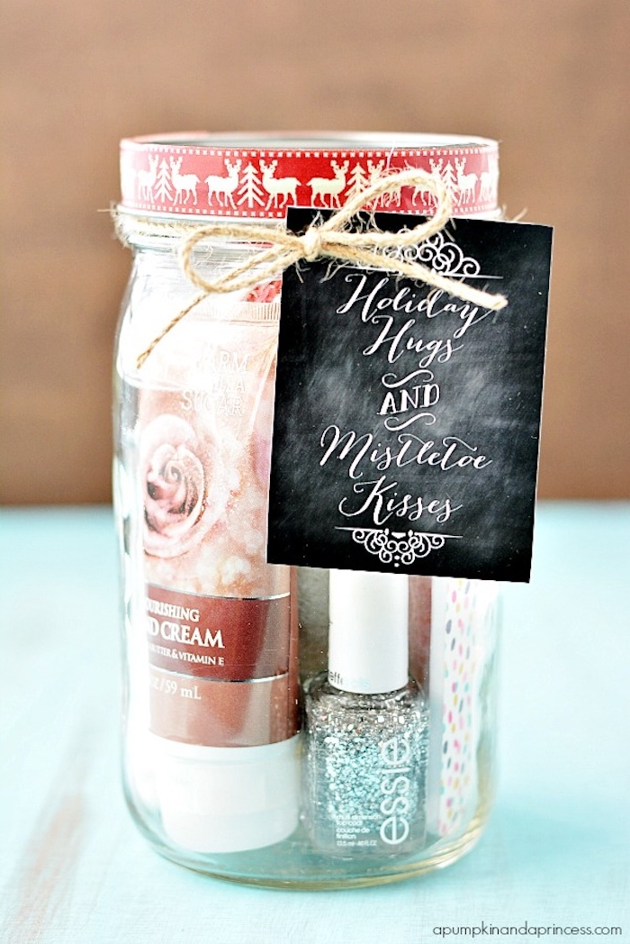 Schönes und praktisches Weihnachtsgeschenk für Freundin, Nagellack Handcreme und noch mehr in Einmachglas mit Anhänger