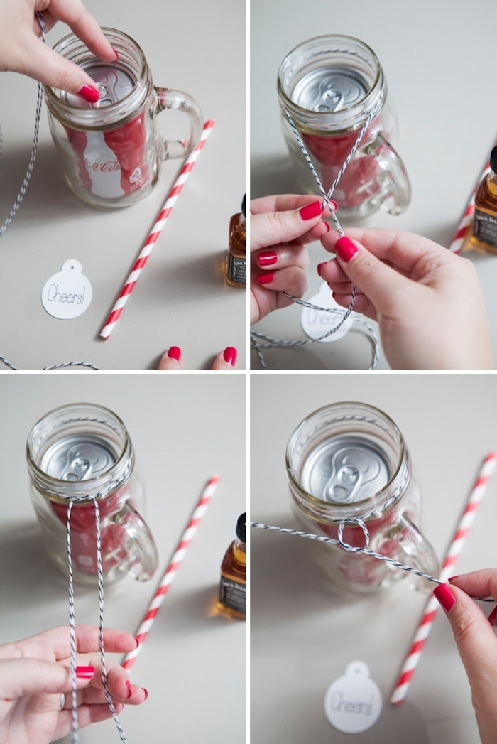 Kreative Weihnachtsgeschenke selber machen, Jack Daniels und Coca Cola, Anhänger mit Aufschrift Cheers