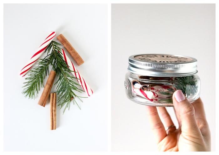 Tannenzweige, Zimt und Zuckerstangen in kleines Einmachglas füllen, DIY Weihnachtsgeschenke
