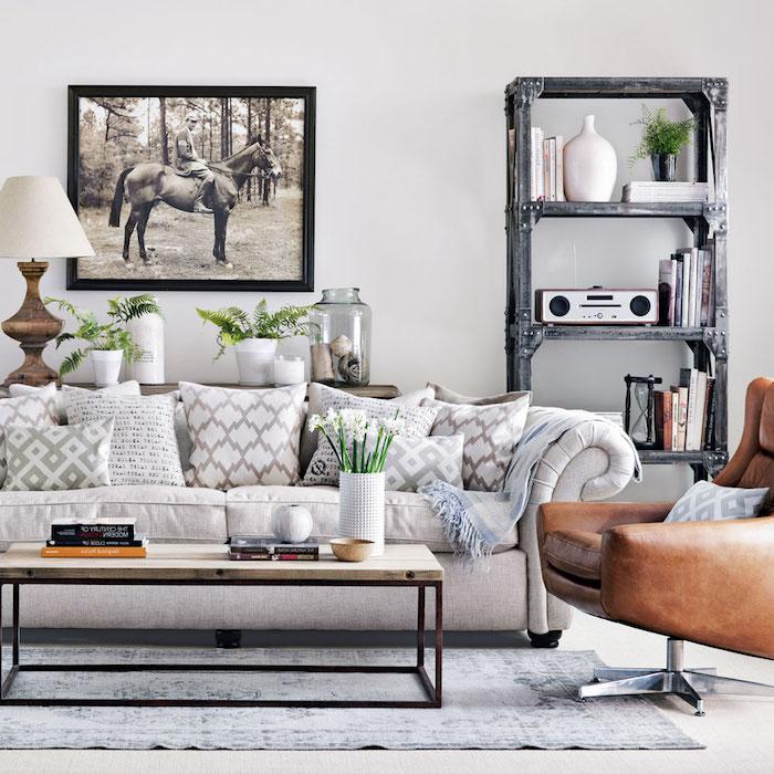 wandfarbe grau mit welchen farben kombinieren, ideen, decke weiß und grau, bild mit einem pferd, pferderennen