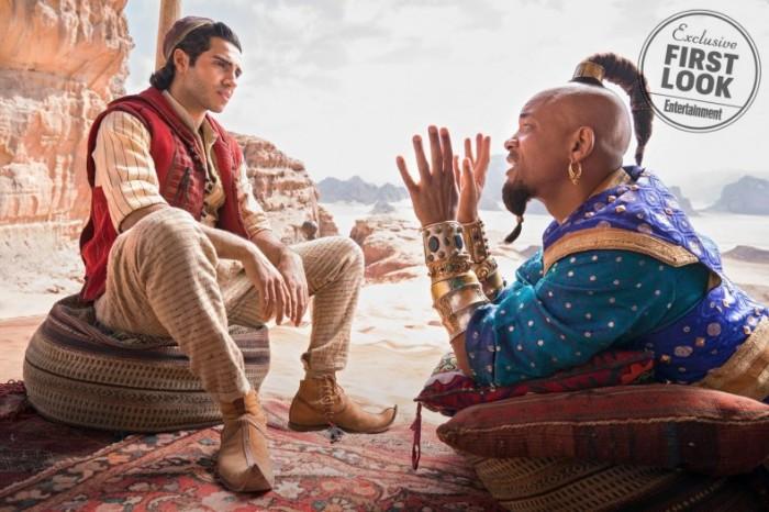 aladdin, schauspieler will smith als dschinni flaschengeist, die wüste und kleine steine
