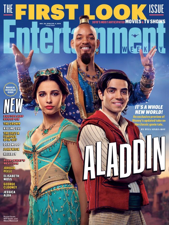 erste fotos zum aladdin, will smith verkörpert dschinni der flaschengeist, eine prinzessin mit einem langen grünen kleid und ogrringen und einer krone