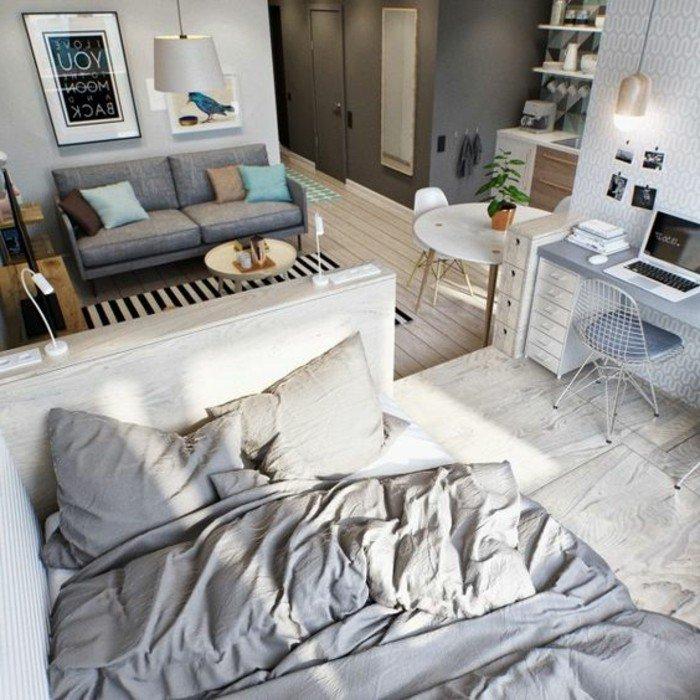 kleines zimmer einrichten, doppelbett, sofa, doppelt, schreibtisch, home office, tisch, miniwohnung mit stil