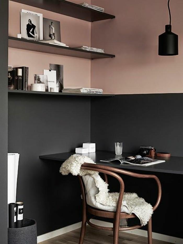 welche farben passen zusammen, hier ist schwarzgrau mit hellrosa kombiniert, wandregale, bilder