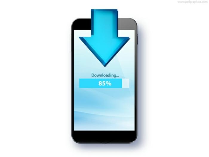 ein Smartphone mit Möglichkeit zum Herunterladen, 5G Internet Wireless Verbindung