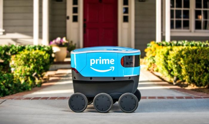 Amazon Scout, ein Roboter in blauer Farbe, sechs Räder, eine Aufschrift Prime