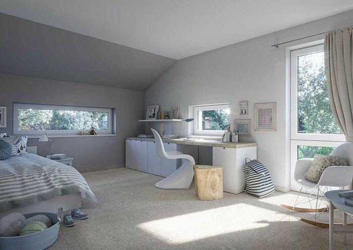 ein Jugendzimmer mit beigem Teppich, ein Schreibtisch mit modernem Stuhl, Architekturpsychologie