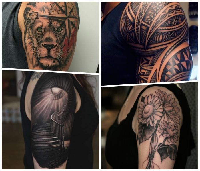 arm tattoo mann, tätowierung mit samoanischen motiven, große blumen, löwenkopf