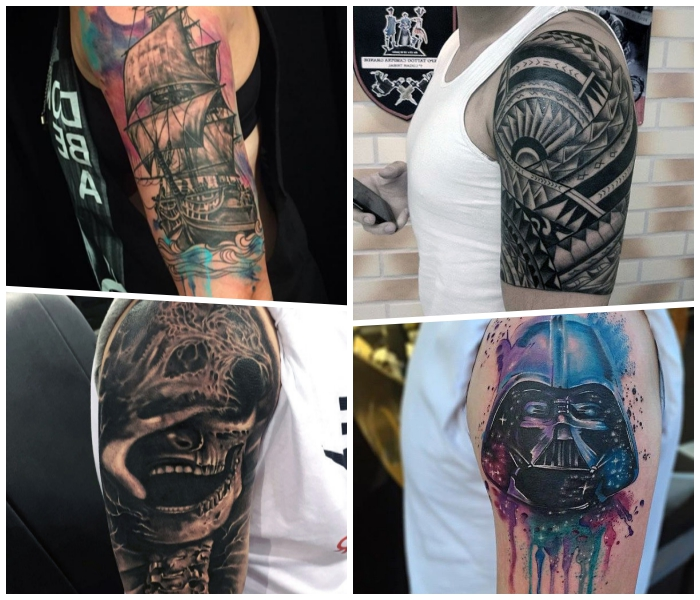 arm tattoo mann ideen, darth vader, großer schiff, geometrische motive, totenkopf