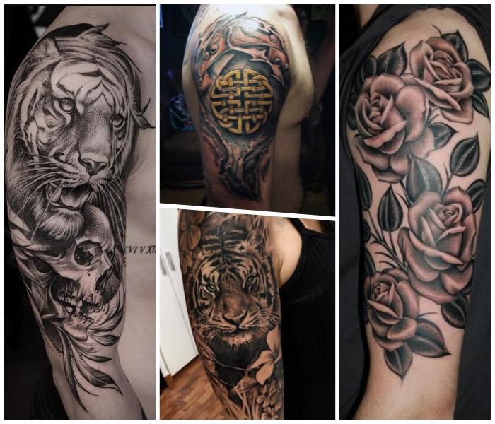 arm tattoo mann ideen, 3d tätowierung mit tiger und schädel als motiv, rosen