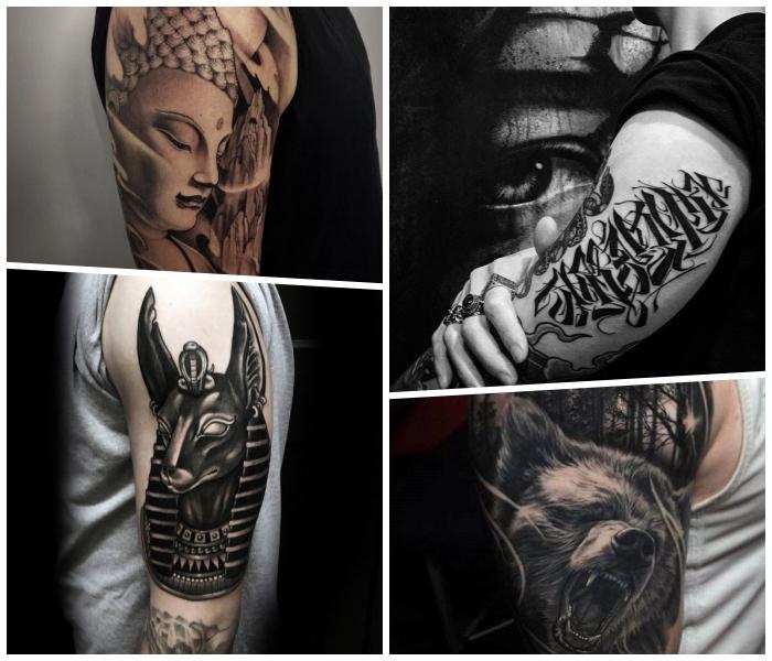 arm tattoos, beliebte designs, 3d tätowierung mit buddha als motiv, bär