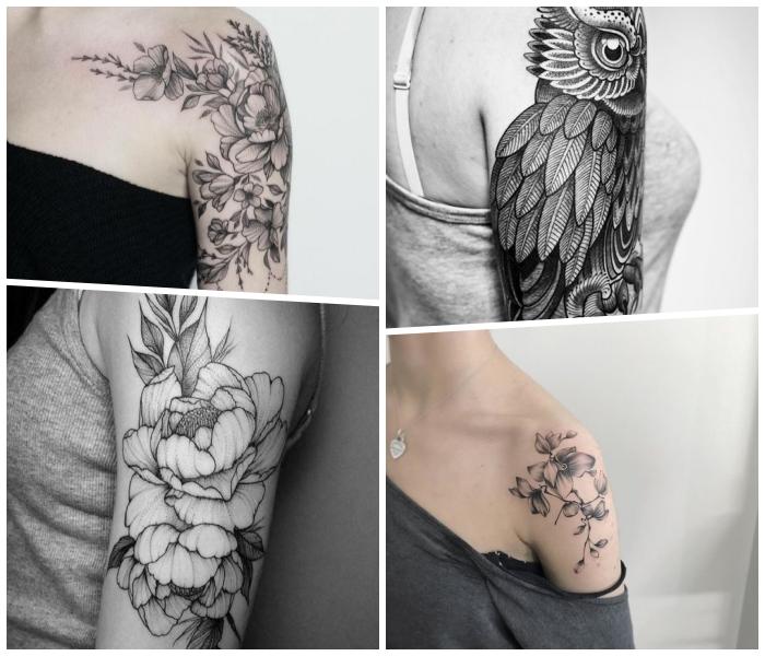 arm tattoos, ideen für frauen, florale elemente, große eule, vogel