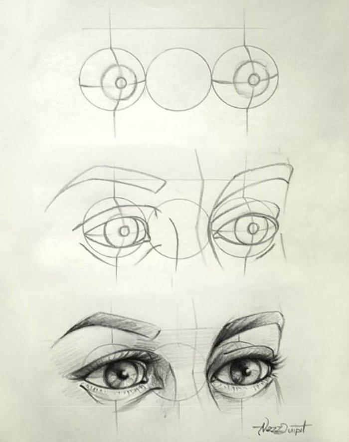 eine Anleitung, wie Sie die Augen eines Mädchen selber zeichnen in drei Schritten mit Konturen