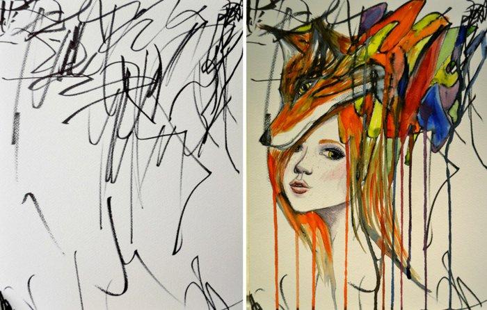 eine Idee, wie aus chaotische Linie von der Zeichnung eines KIndes, Mädchen gezeichnet zu bekommen