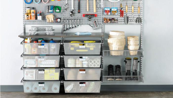 auro garage, ordnung schaffen, viele körbe aus kunststoff, raum optimal nutzen