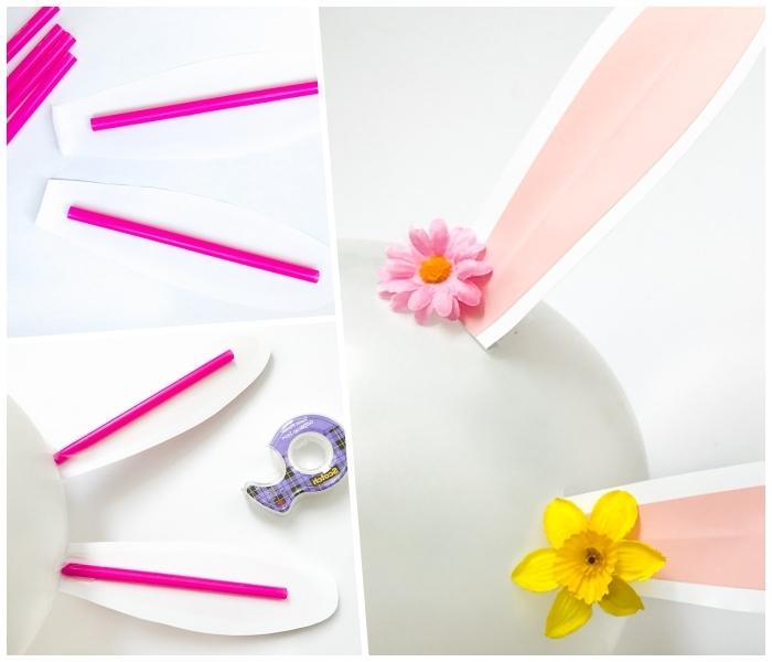 bastelideen ostern kostenlos, partydeko selebr machen, ohren aus papier und strohhalme, hasen aus ballons