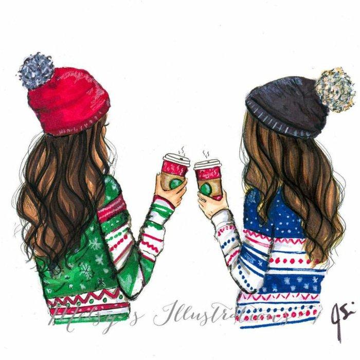 zwei Freundinen mit Kaffeebecher, bunte Münzen und bunte Pullover, lange braune Haare, Mädchen zeichnen