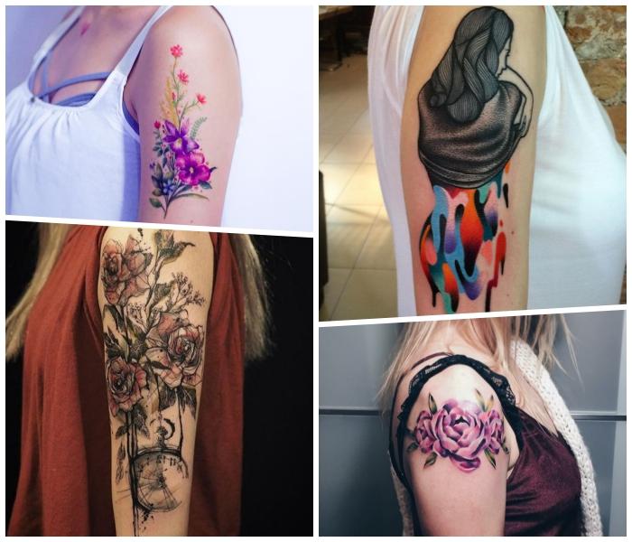 beliebte arm tattoos für frauen, rosa blumen, tätowierung an der schulter