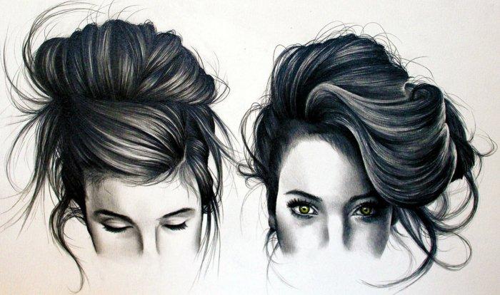 zwei Bilder von Mädchen gezeichnet, zwei Mädchen mit Hochsteckfrisuren, schwarze Haare