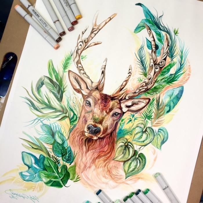 bilder zeichnen, hirsch in kombination mit grünen blättern, waldtier, bunte marker