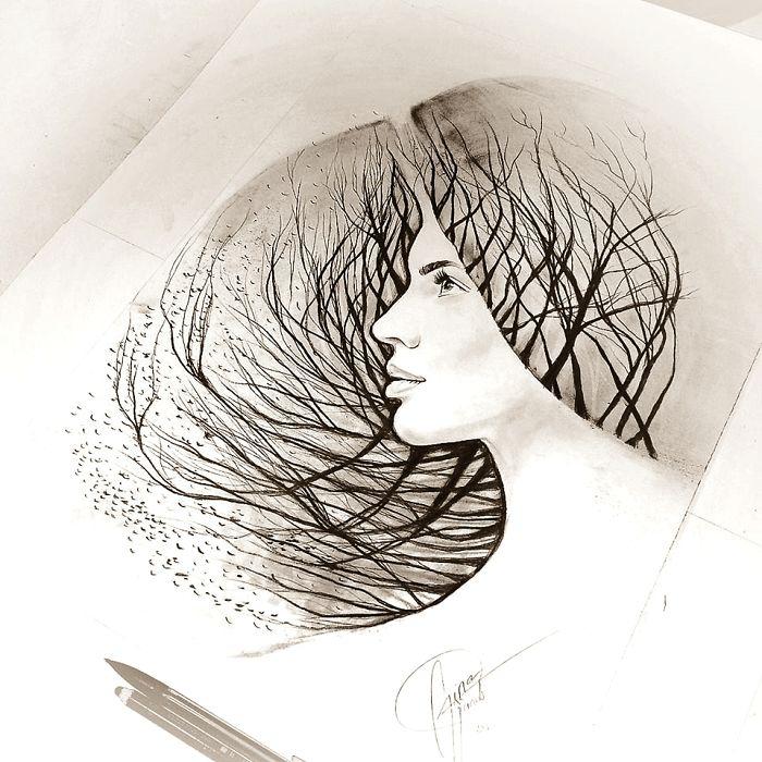 bilder zeichnen, frau mit haaren aus zweigen, frauengesicht zeichnung mit bleistift