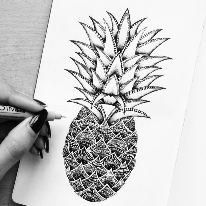 bilder zum nachzeichnen, ananas mit geometrischen elementen, schwazer kugelschreiber