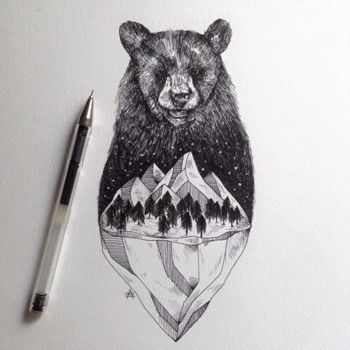bilder zum nachzeichnen, schwazrer bär, gebirge mit blumen und teig, schwarzer kugelschreiber
