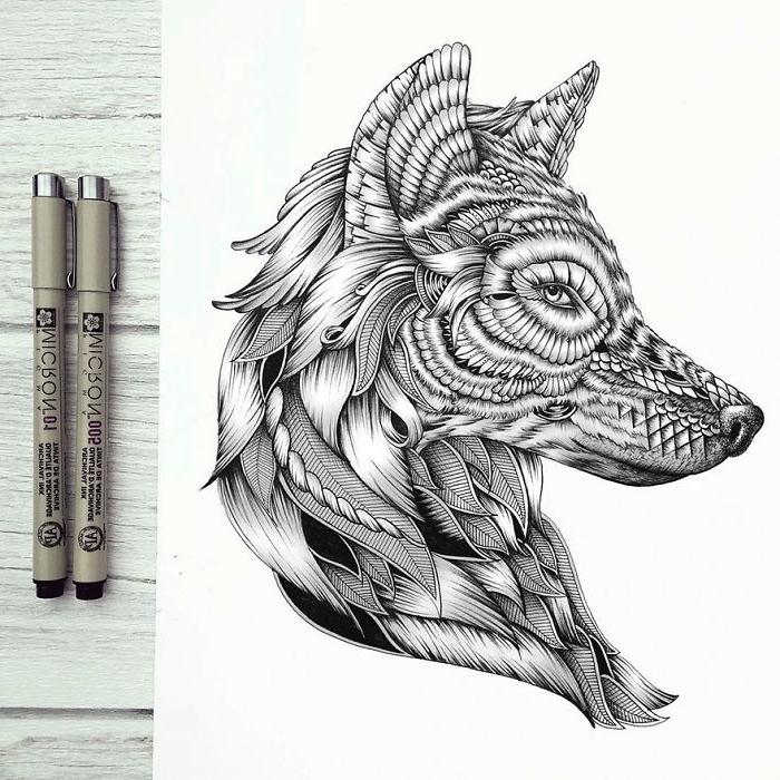 bilder zum nachzeichnen, blatt papier, detaillierter wolfkopf, wölfin zeichnen
