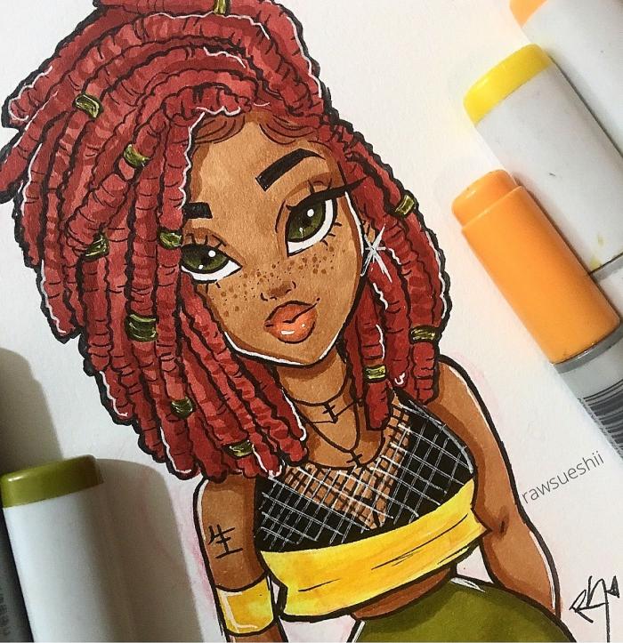 bilder zum zeichnen, grüne augen, rote haare, mädchen zeichnung, farbige marker