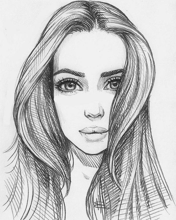 bilder zum zeichnen, portrait machen, frau mit langen haaren und großen augen