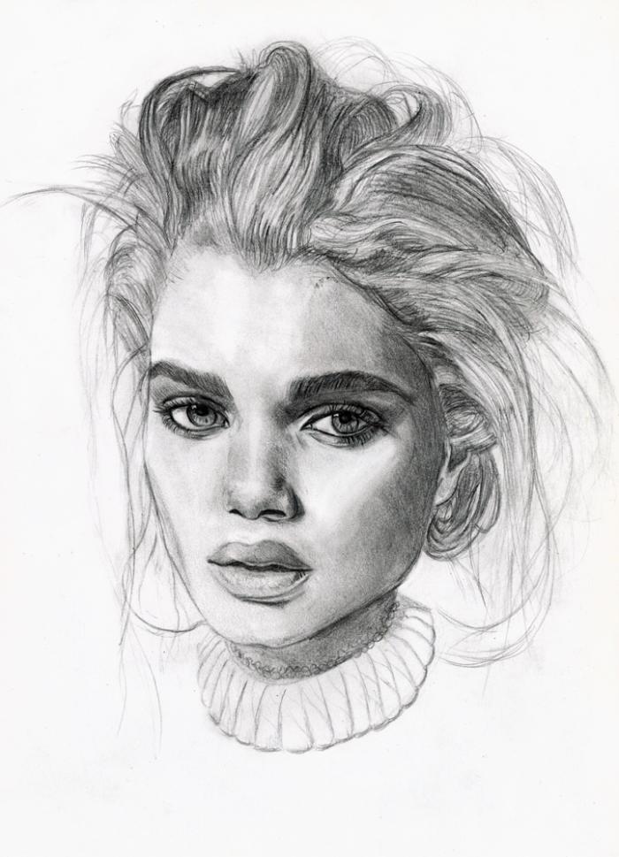 bilder zum zeichnen, frauen portrait machen mit bleistift, realitisches frauengesicht